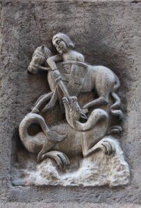 Święty Jordi patron Katalonii zabija smoka