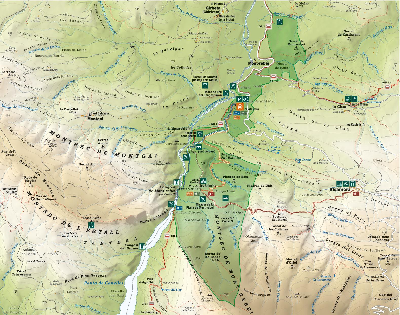 Mapa Mont - Rebei