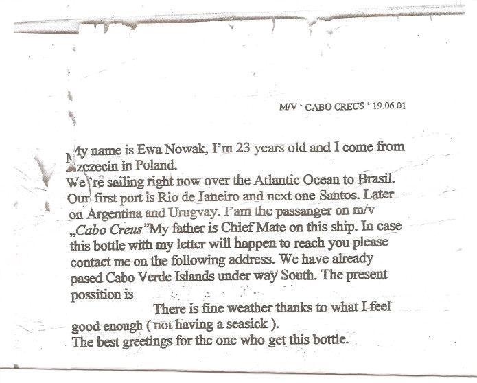 List wrzucony do morza
